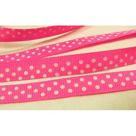 Satino juostelė, dvipusė, ryškios rožinės spalvos, 10 mm pločio, 1 metras