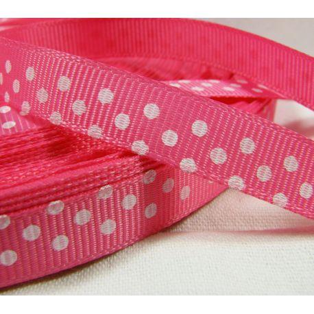 Satino juostelė rankdarbiams, papuošalams, rožinės spalvos su taškeliais, matinė, 10 mm pločio, 1 metras