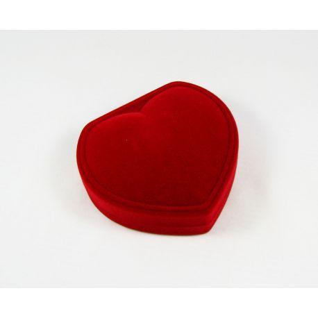 Širdelės formos, velvetinė dovanų dėžutė, valentino, vestuvių, dovanų progmos, raudonos spalvos 88x80 mm, 1 vnt.