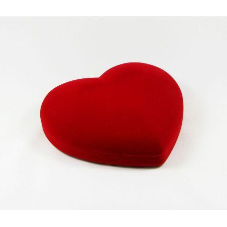 Velvetinė dovanų dėžutė, širdelės formos, raudonos spalvos 140x115 mm, 1 vnt.