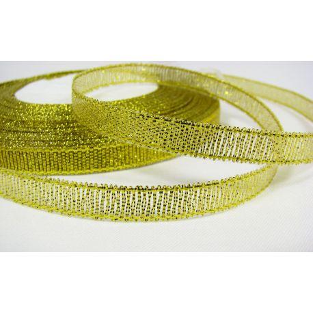 Blizgi juostelė, aukso spalvos, dvipusė, 6 mm pločio, ritėje 22 m
