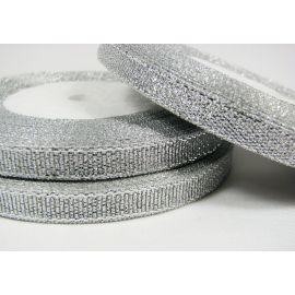Blizgi juostelė rankdarbiams, papuošalams, sidabro spalvos, 6 mm pločio, 22 metrai