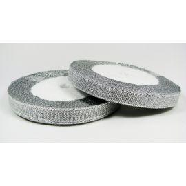 Blizgi juostelė rankdarbiams, papuošalams, sidabro spalvos, 10 mm pločio, 22 metrai