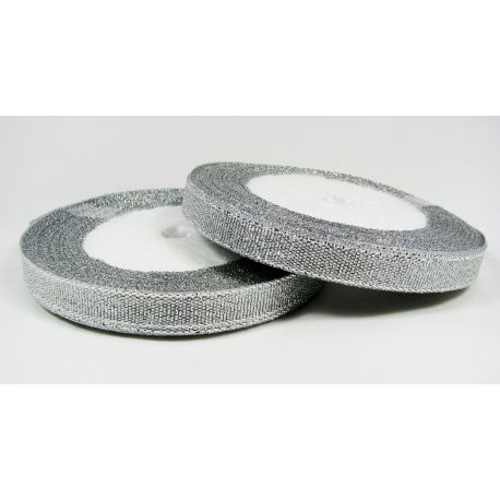Blizgi juostelė, sidabro spalvos, dvipusė, 10 mm pločio, ritėje 22 m