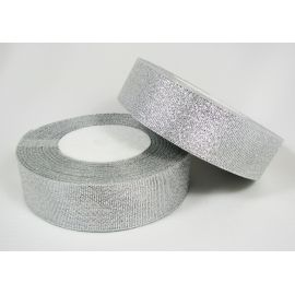 Blizgi juostelė rankdarbiams, papuošalams, sidabro spalvos, 25 mm pločio, 22 metrai
