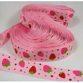 Grossgrain juostelė rankdarbiams, papuošalams, rožinės spalvos su braškėmis, 25 mm pločio, 1 metras