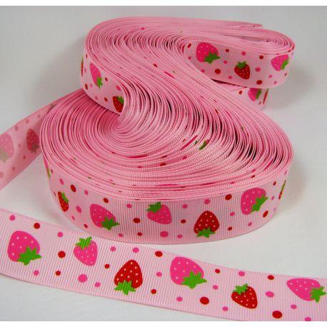 Grossgrain juostelė, dvipusė, rožinės spalvos su braškėmis, 25 mm pločio, 1 metras