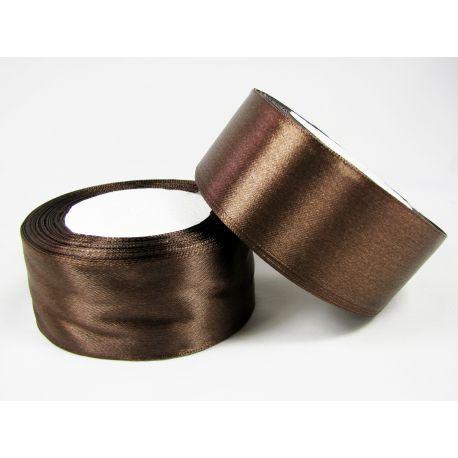 Satininė juostelė rankdarbiams, papuošalams, tamsiai rudos spalvos, 40 mm pločio, 1 metras