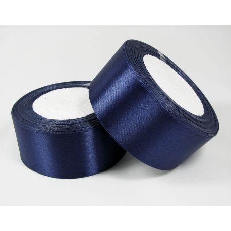 Satininė juostelė rankdarbiams, papuošalams, mėlynos spalvos, 40 mm pločio, 1 metras