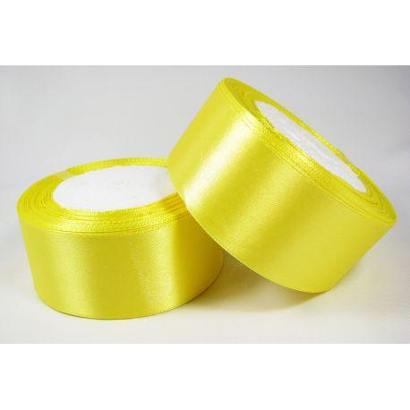 Satininė juostelė rankdarbiams, papuošalams, geltonos spalvos, 40 mm pločio, 1 metras