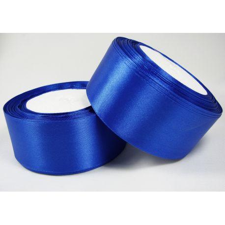 Satininė juostelė rankdarbiams, papuošalams, ryškiai mėlynos spalvos, 40 mm pločio, 1 metras
