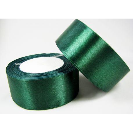 Satininė juostelė rankdarbiams, papuošalams, tamsiai žalios spalvos, 40 mm pločio, 1 metras
