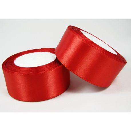Satininė juostelė rankdarbiams, papuošalams, raudonos spalvos, 40 mm pločio, 1 metras