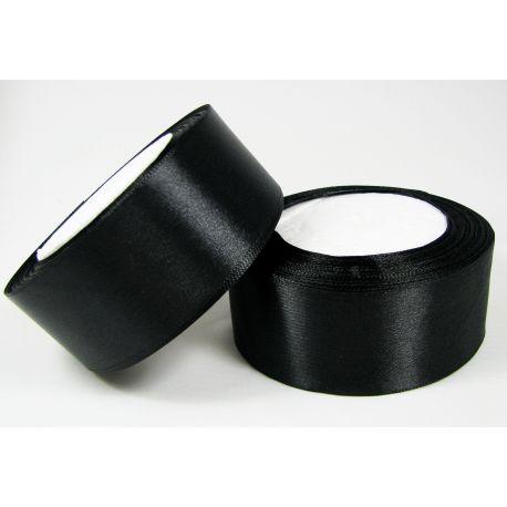 Satininė juostelė rankdarbiams, papuošalams, juodos spalvos, 40 mm pločio, 1 metras
