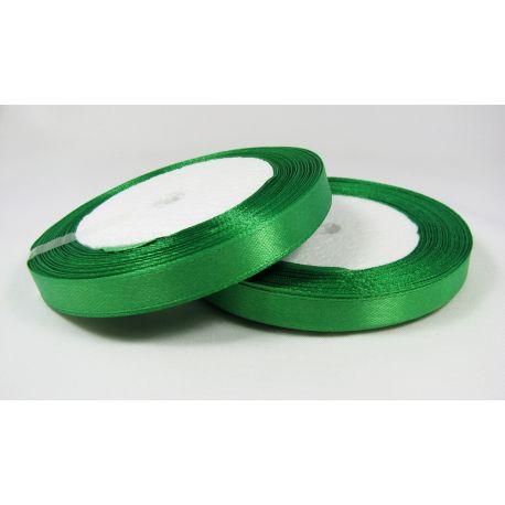 Satininė juostelė rankdarbiams, papuošalams, ryškiai žalios spalvos, 10 mm pločio, ritėje 21 metras