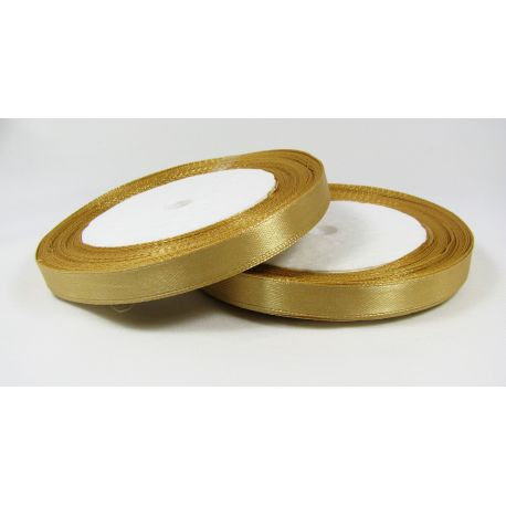 Satininė juostelė rankdarbiams, papuošalams, tamsios aukso spalvos, 10 mm pločio, ritėje 21 metras