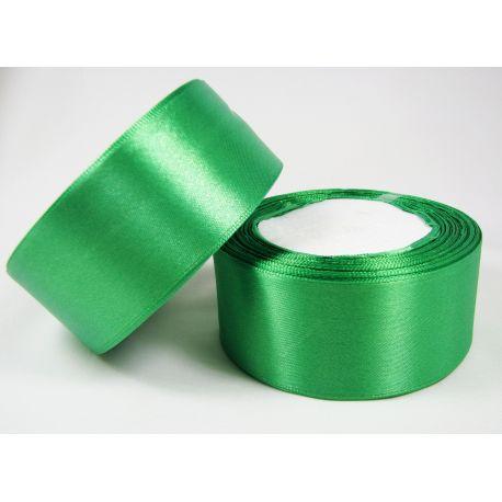 Satininė juostelė rankdarbiams, papuošalams, ryškiai žalios (emeralo) spalvos, 40 mm pločio, 1 metras
