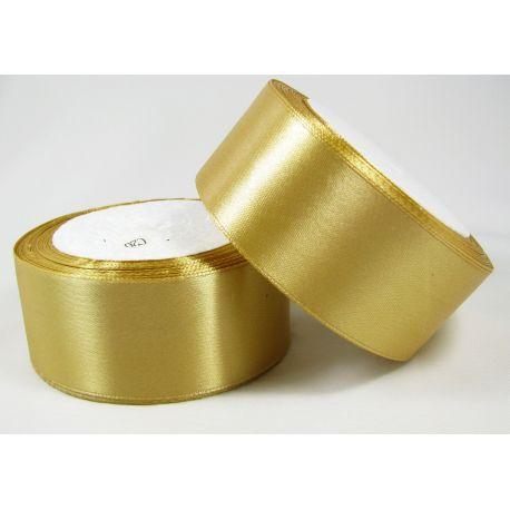Satininė juostelė rankdarbiams, papuošalams, tamsios aukso spalvos, 40 mm pločio, 1 metras