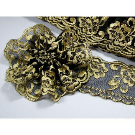 Ažūrinė juostelė, juodos - aukso spalvos, 60 mm pločio, 1 metras