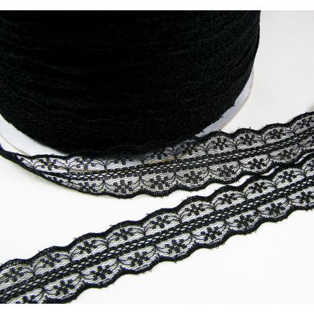 Ažūrinė juostelė rankdarbiams, papuošalams, juodos spalvos, 25 mm pločio, 1 metras