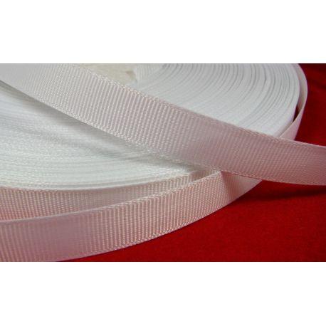 Grosgrain juostelė, dvipusė, baltos spalvos, 12 mm pločio, 1 metras