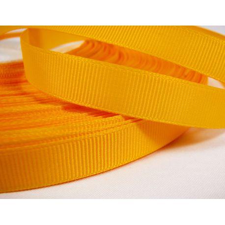 Grosgrain juostelė, dvipusė, ryškiai geltonos spalvos, 12 mm pločio, 1 metras