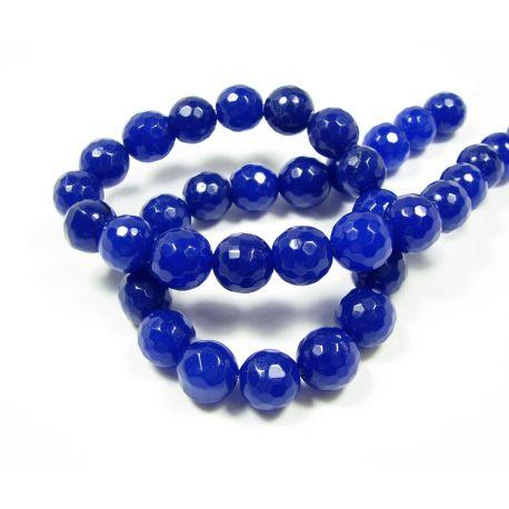 Nefrito karoliukų gija, ryškiai mėlynos spalvos, briaunuoti, apvalios formos 10 mm, 1 vnt.