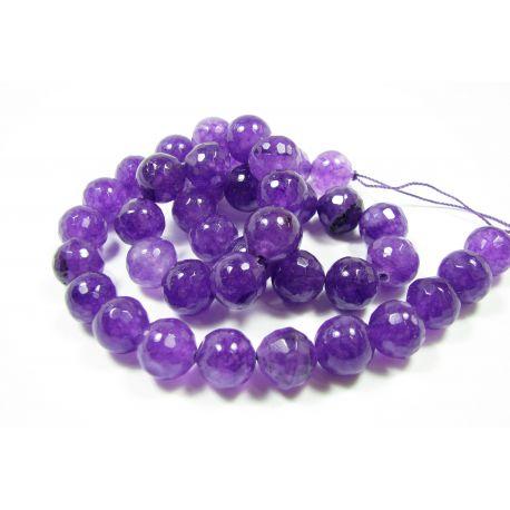 Nefrito karoliukų gija, violetinės - ametisto spalvos, briaunuoti, apvalios formos 10 mm, 1 vnt.