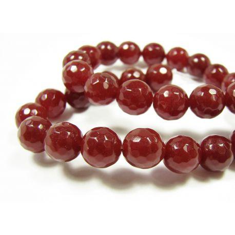 Nefrito karoliukai rudai raudonos spalvos, briaunuoti, apvalios formos 10 mm, 1 vnt.