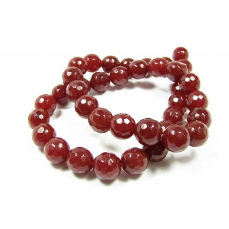 Nefrito karoliukų gija, rudai raudonos spalvos, briaunuoti, apvalios formos 10 mm, 1 vnt.