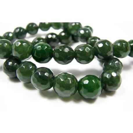 Nefrito karoliukai žalios spalvos, briaunuoti, apvalios formos 10 mm, 1 vnt.