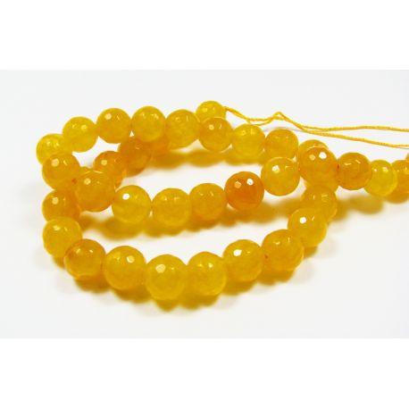 Nefrito karoliukų gija, geltonos spalvos, briaunuoti, apvalios formos 10 mm, 1 vnt.