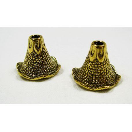 Kepurėlė skirta papuošalų gamybai sendintos aukso spalvos 22x17 mm