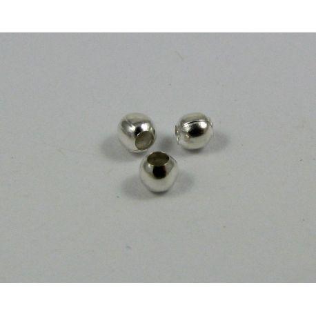 Intarpas skirtas papuošalų gamybai sidabro spalvos apvalios formos 2 mm, 10 vnt maišelyje