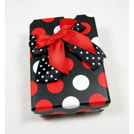 Dovanų dėžutė, kartoninė, juodos baltos raudonos spalvos 80x55 mm, 1 vnt.
