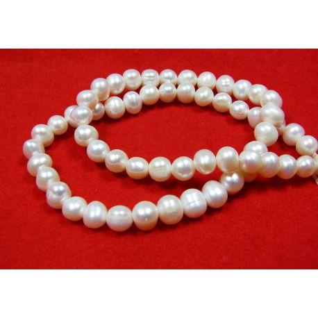 Gėlavandenių perlų gija, baltos spalvos, apvalios formos 6-7 mm