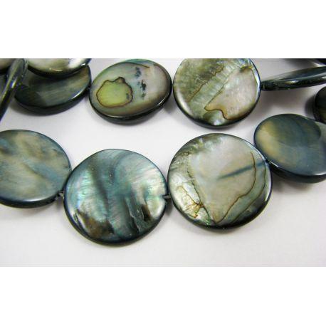 Perlų masės karoliukai, tamsiai pilkai melsvos spalvos, monetos formos, 20 mm