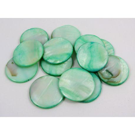 Perlų masės karoliukai randarbiams, papuošalams, suvenyrams, žalsvos spalvos, monetos formos, 30 mm