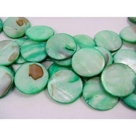 Perlų masės karoliukų gija, žalsvos spalvos, monetos formos,30 mm