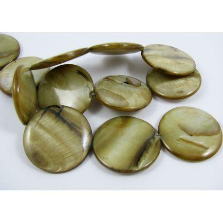 Perlų masės karoliukų gija, rusvos spalvos, monetos formos, 30 mm