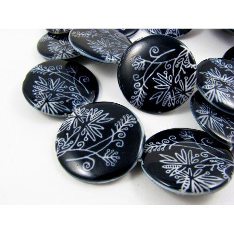 Perlų masės karoliukai randarbiams, papuošalams, suvenyrams, tamsios mėlynos spalvos su piešiniu, monetos formos, 30 mm