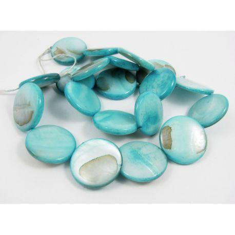 Perlų masės karoliukų gija randarbiams, papuošalams, suvenyrams, žydros spalvos, monetos formos,20 mm