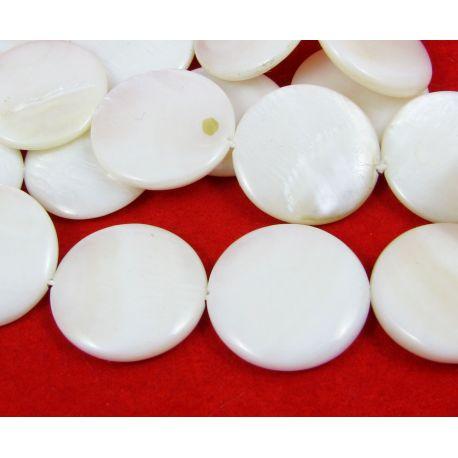 Perlų masės karoliukai randarbiams, papuošalams, suvenyrams, baltos spalvos, monetos formos, 20 mm