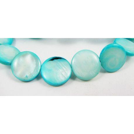 Perlų masės karoliukai randarbiams, papuošalams, suvenyrams, žydros spalvos, monetos formos, 12 mm