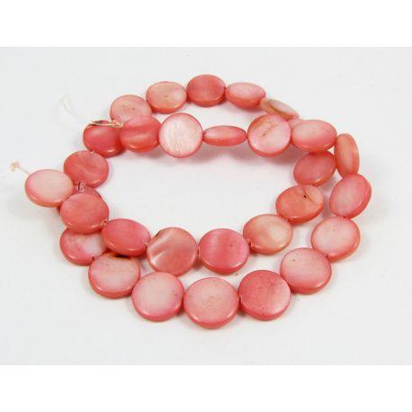 Perlų masės karoliukų gija randarbiams, papuošalams, suvenyrams, ryškios rožinės spalvos, monetos formos,12 mm