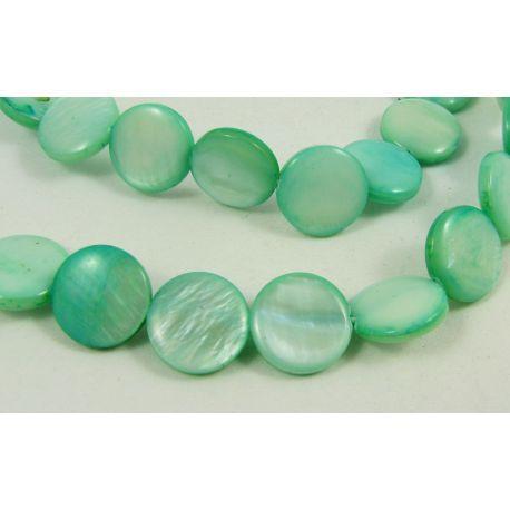 Perlų masės karoliukai randarbiams, papuošalams, suvenyrams, žalvos spalvos, monetos formos, 12 mm