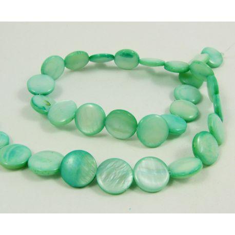 Perlų masės karoliukų gija randarbiams, papuošalams, suvenyrams, žalsvos spalvos, monetos formos,12 mm