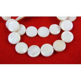 Perlų masės karoliukai randarbiams, papuošalams, suvenyrams, baltos spalvos, monetos formos, 12 mm