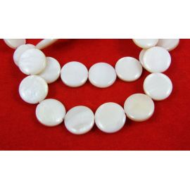 Perlų masės karoliukai, baltos spalvos, monetos formos 12 mm