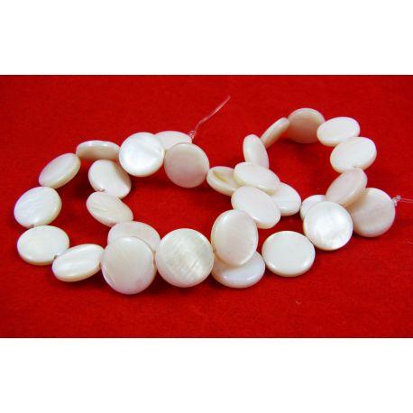Perlų masės karoliukų gija randarbiams, papuošalams, suvenyrams, baltos spalvos, monetos formos,12 mm